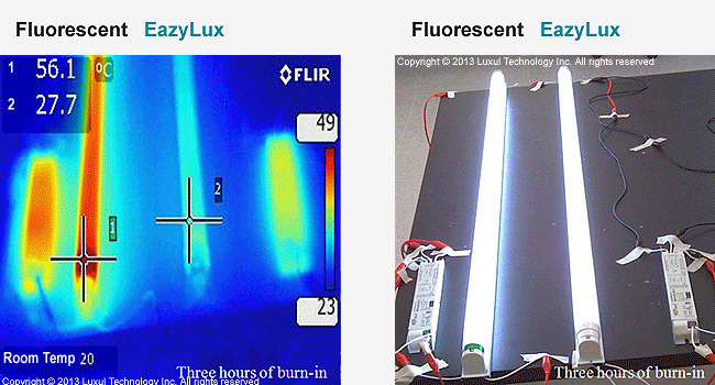LED tube vs. flourescent tube bulb heat comparison